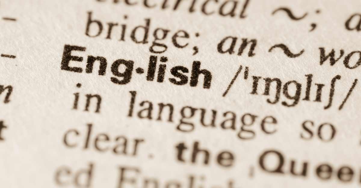 Página no dicionário com a palavra english