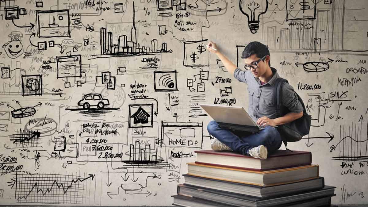 Imagem de um garoto assistindo série em seu computador