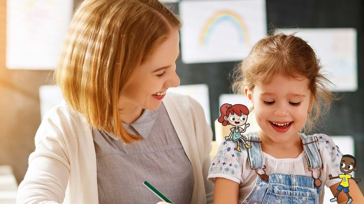 Mãe e filha criança estudando inglês com dois personagens desenho da turma do Little Wiz