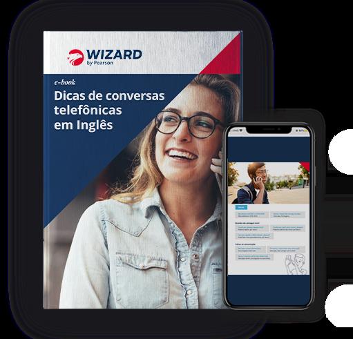 Ilustração do ebook de dicas telefônica em inglês. Na capa, há uma mulher branca, de cabelos loiros e óculos com um celular na orelha.