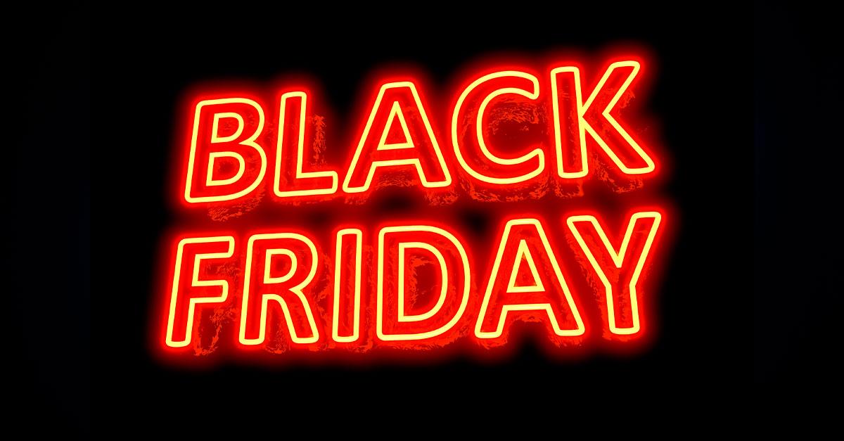 palavra black friday grande em led vermelho em um fundo preto