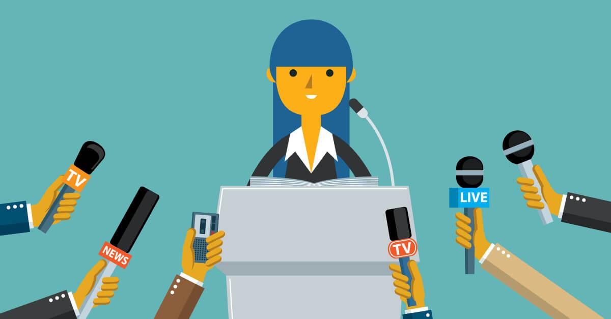 Desenho de uma jornalista sendo entrevistada e vários microfones ao redor dela