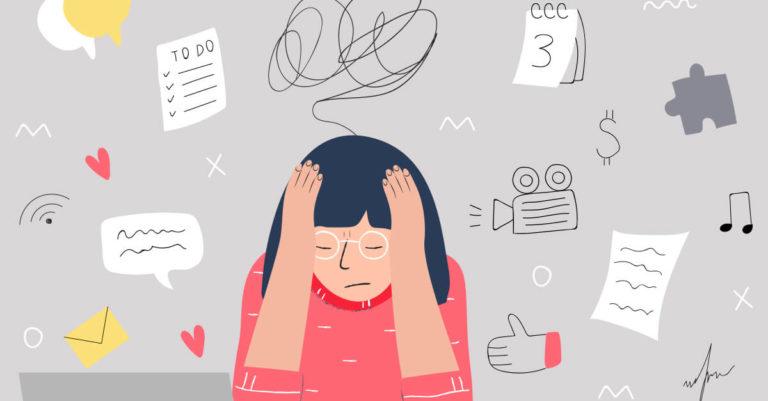 desenho de uma menina com cabelo preto e blusa vermelha com a mão na cabeça e alguns ícones ao redor dela