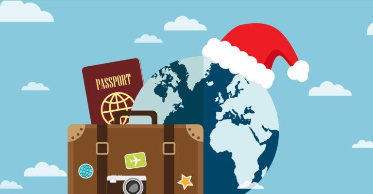 desenho do planeta terra com um gorro de natal, uma mala e passaporte
