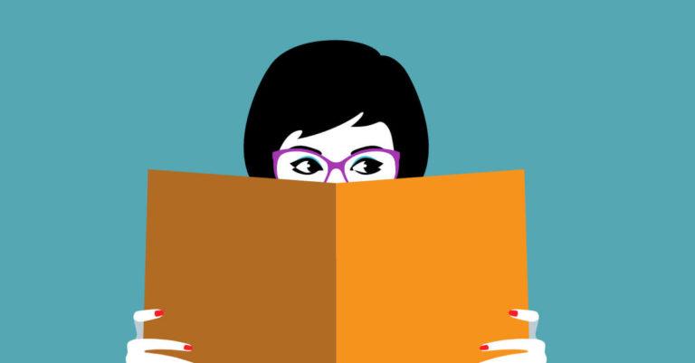 desenho de uma figura (menina com óculos) lendo um livro