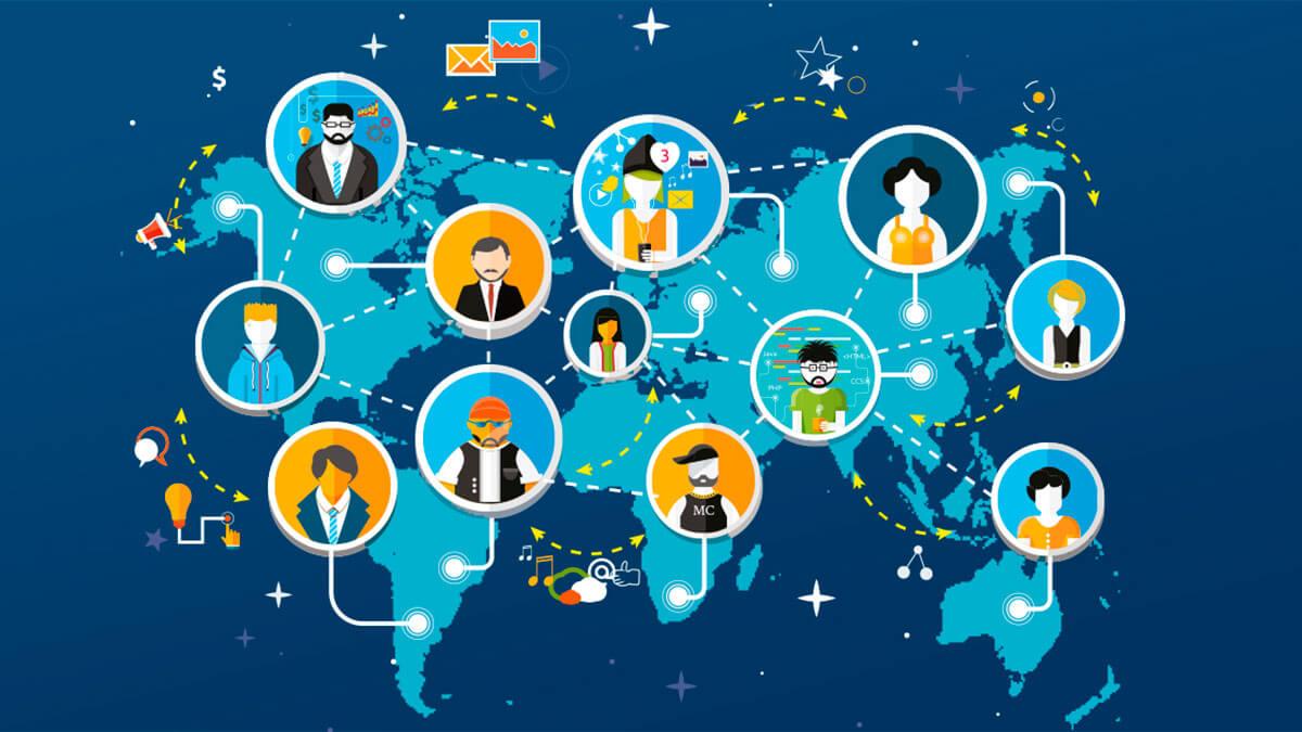 imagem do mapa mundi e várias imagens de pessoas