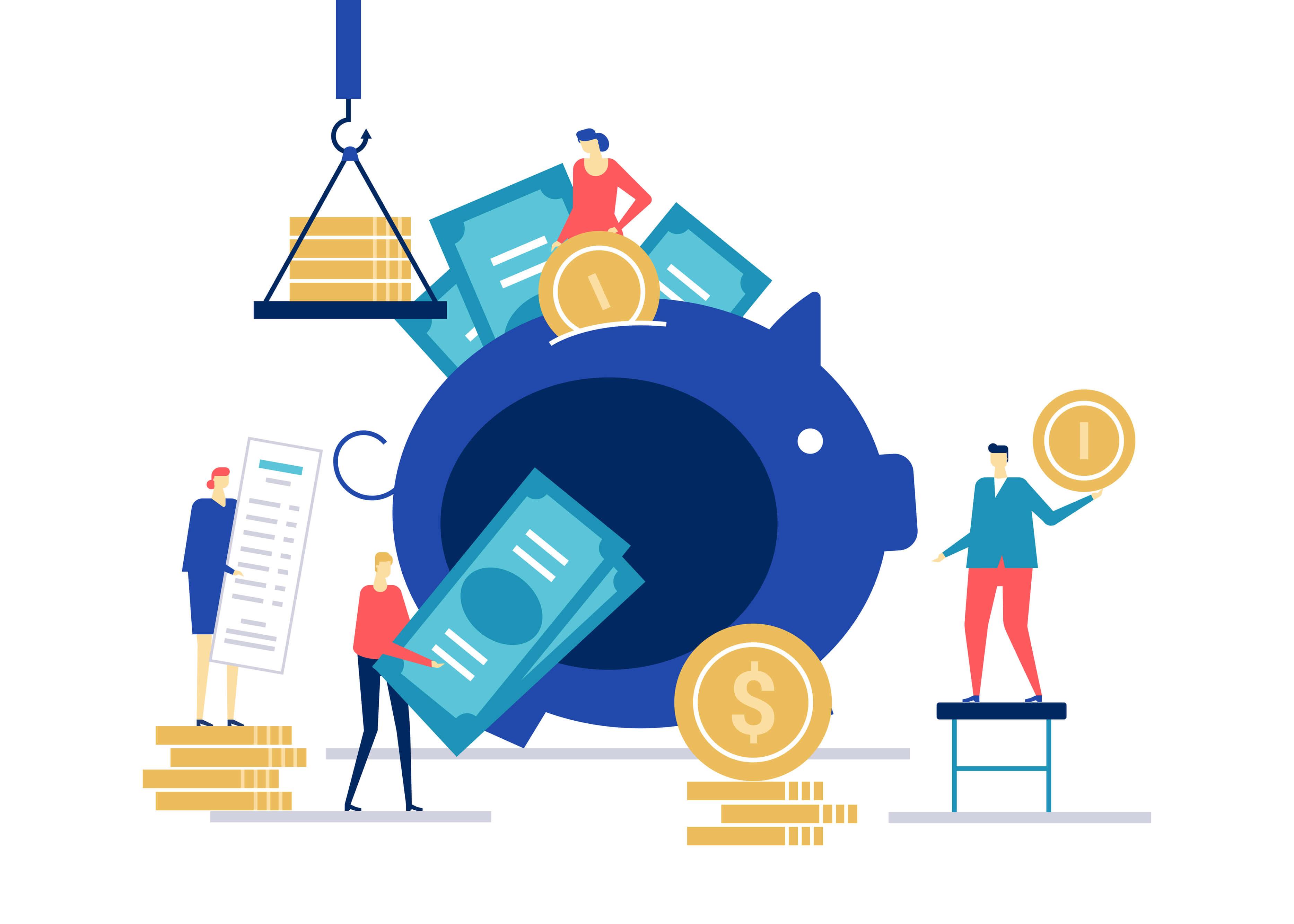 desenho de bonecos segurando moedas e dinheiros