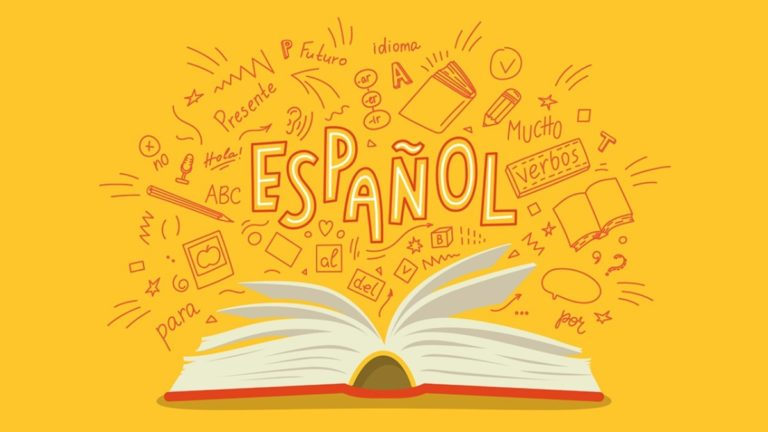 Ilustração de um livro aberto com expressões em espanhol saindo dele