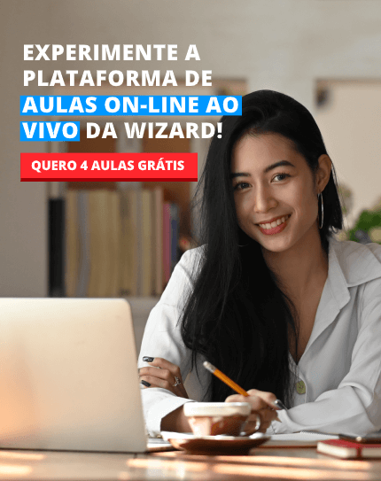 Mulher oriental e frase sobre experimentar as aulas de inglês da Wizard com 4 aulas grátis