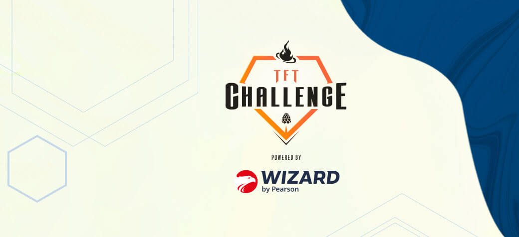 Banner com logo TFT Challenge powered Wizard by Pearson