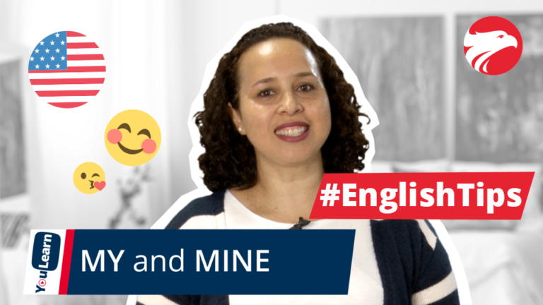 Professora de inglês da Wizard Idiomas e texto My and Mine English Tips
