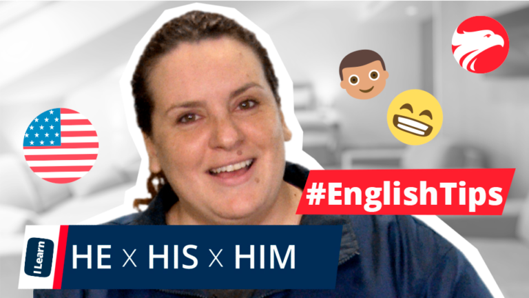 Professora de inglês Wizard Idiomas + texto He x His x Him English Tips