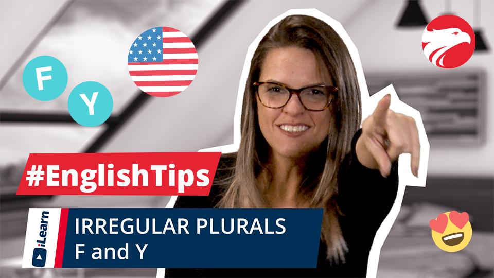 Professora de inglês Wizard com texto English Tips Irregular Plurals F and Y