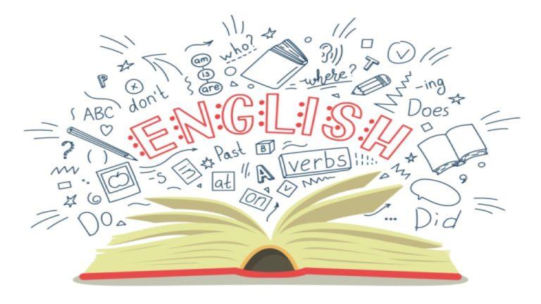 """Ilustração de um livro aberto com a palavra """"english"""" escrita em cima dele"""