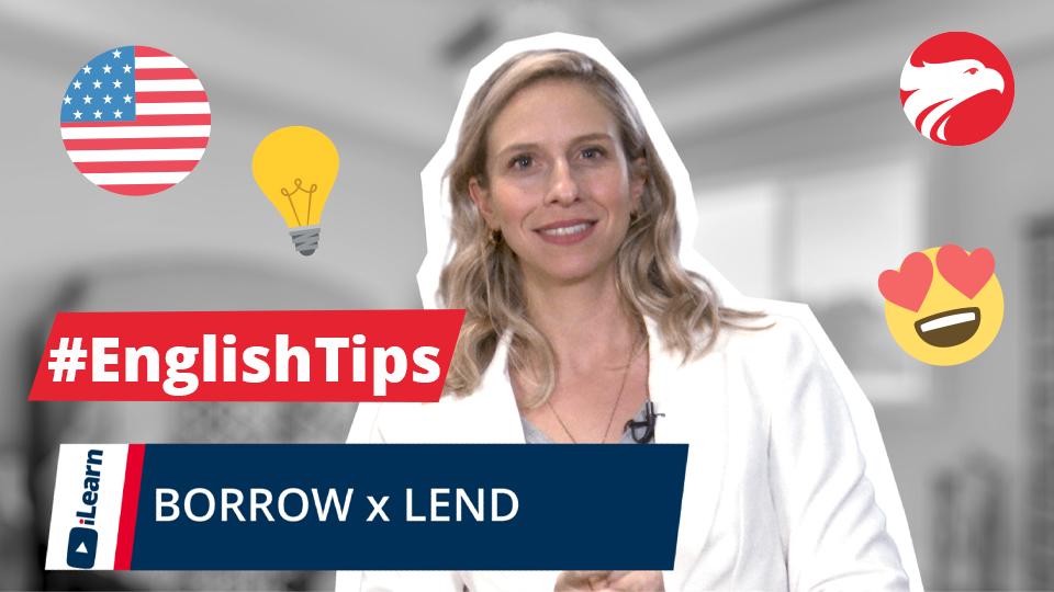 Professora Wizard Idiomas + texto English Tips Borrow e Lend