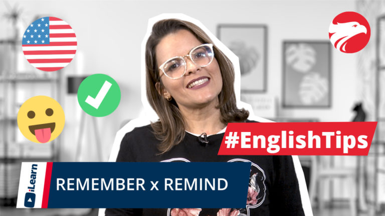 Professora de inglês Wizard + Texto English Tips Remember x Remind