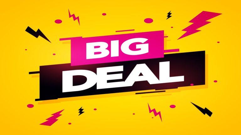 """Ilustração amarela, rosa e preta com o texto """"big deal"""""""