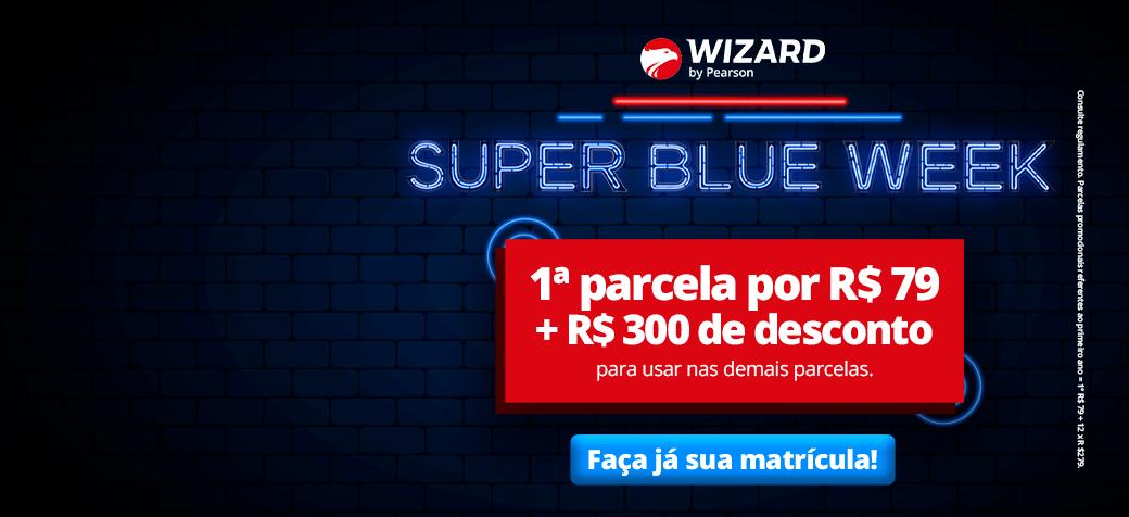 Banner com texto: Super Blue Week, oportunidade imperdível para começar a aprender inglês