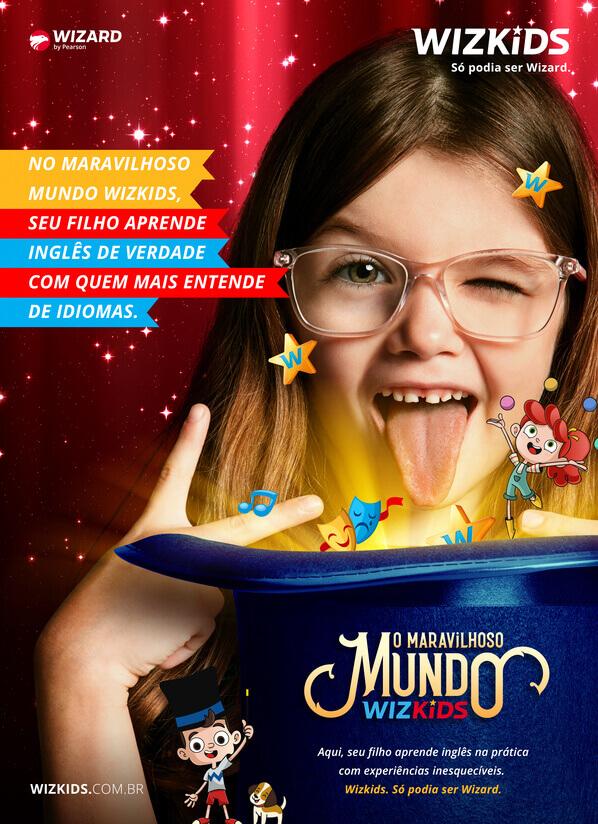Menina de óculos de frente para um chapéu mágico escrito o maravilhoso mundo Wizkids