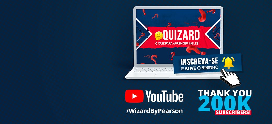 Divulgação da Playlist Quizard do canal no YouTube Wizard By Pearson com lembrete de inscreva-se e ative o sininho