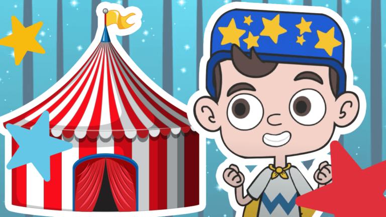 Little Wiz ao lado de um circo