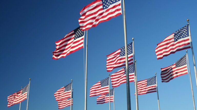 dez bandeiras dos estados unidos tremulando ao vento