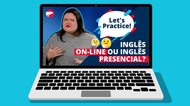 Ari com o balão de diálogo do Let's Practice convidando você a entender a diferença entre aulas online ou aluas presenciais