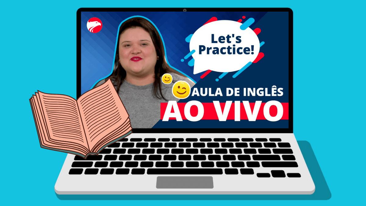 Ari com o balão de fala com Let's Practice escrito fala sobre aulas de inglês ao vivo