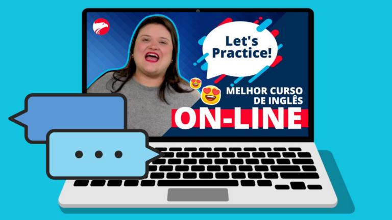 """Ari com um balão de diálogo onde lê-se """"melhor curso de inglês online"""""""
