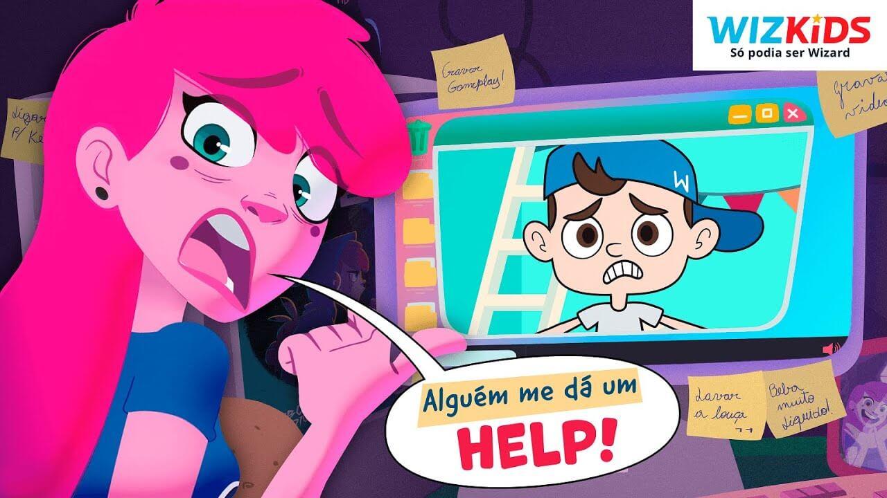 Any Malu, à frente do computador, pede ajuda ao Little Wiz