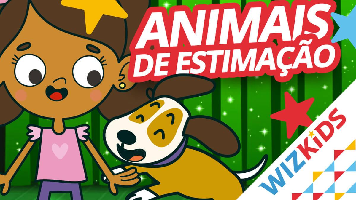 Clara, da Turna do Little Wiz, com o Spot, brincam, enquanto na imagem está escrito Animais de estimação