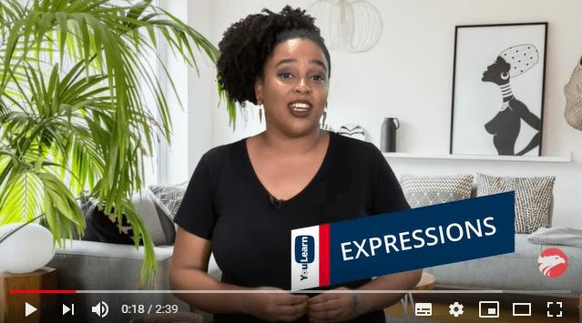 Professora Wizard Nayara Dutra: mulher negra sorrindo com legenda Expressions